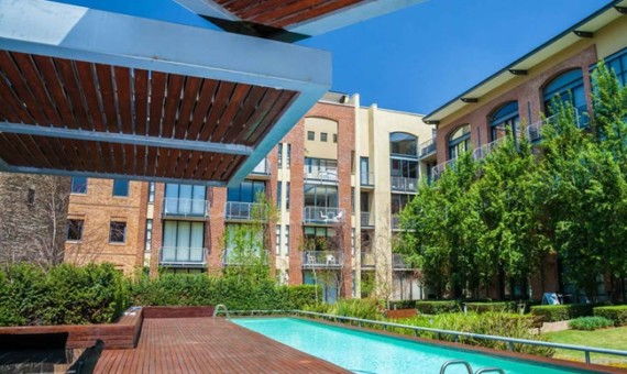 """Melrose arch luxury apartment swimming pool area"" ""Flats for rent in Johannesburg"""