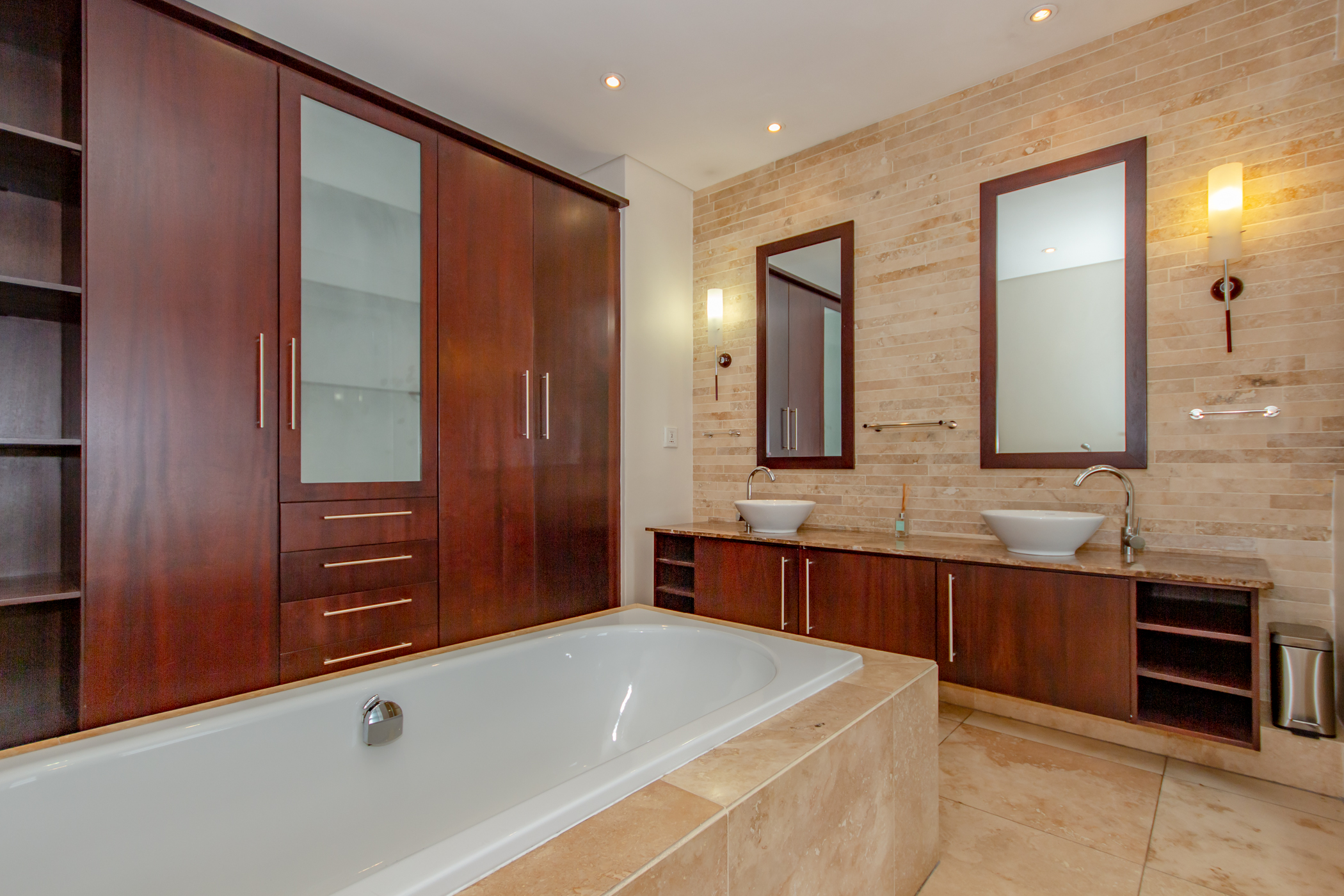 """Melrose arch luxury apartment modern en-suite bathroom"" ""Flats for rent in Johannesburg"""
